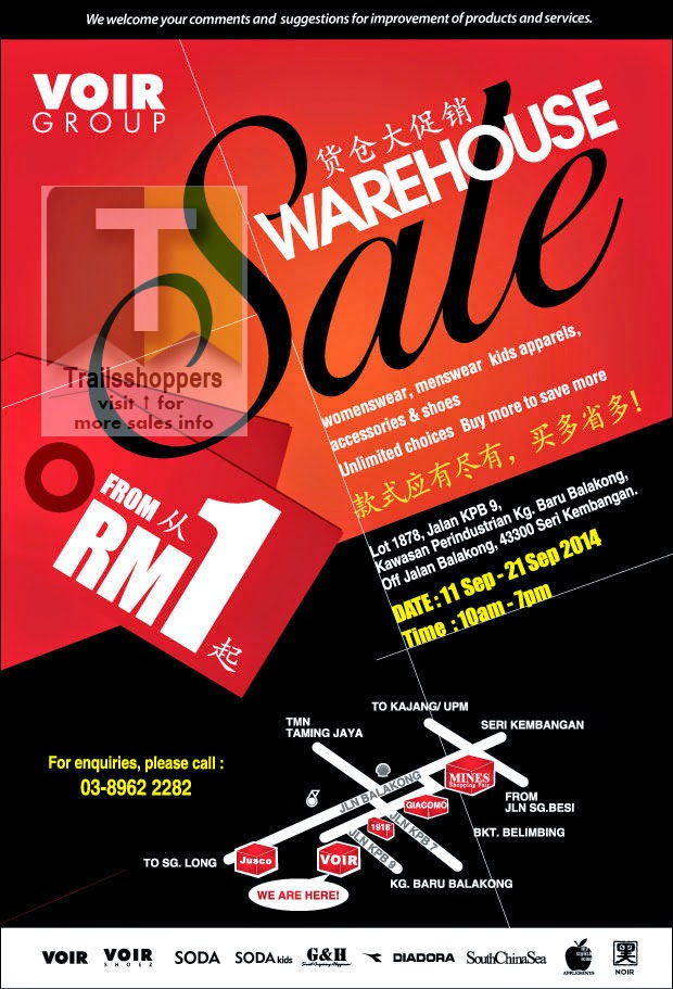 VOIR Group Warehouse Sale offers Seri Kembangan