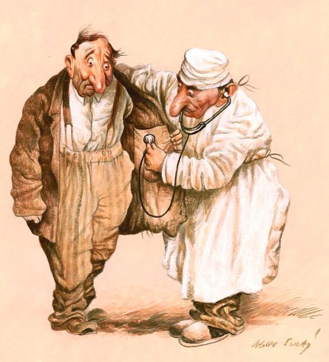 Lægen stiller diagnose med stetoskopet på patientens inderlomme