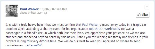 Paul Walker Dies