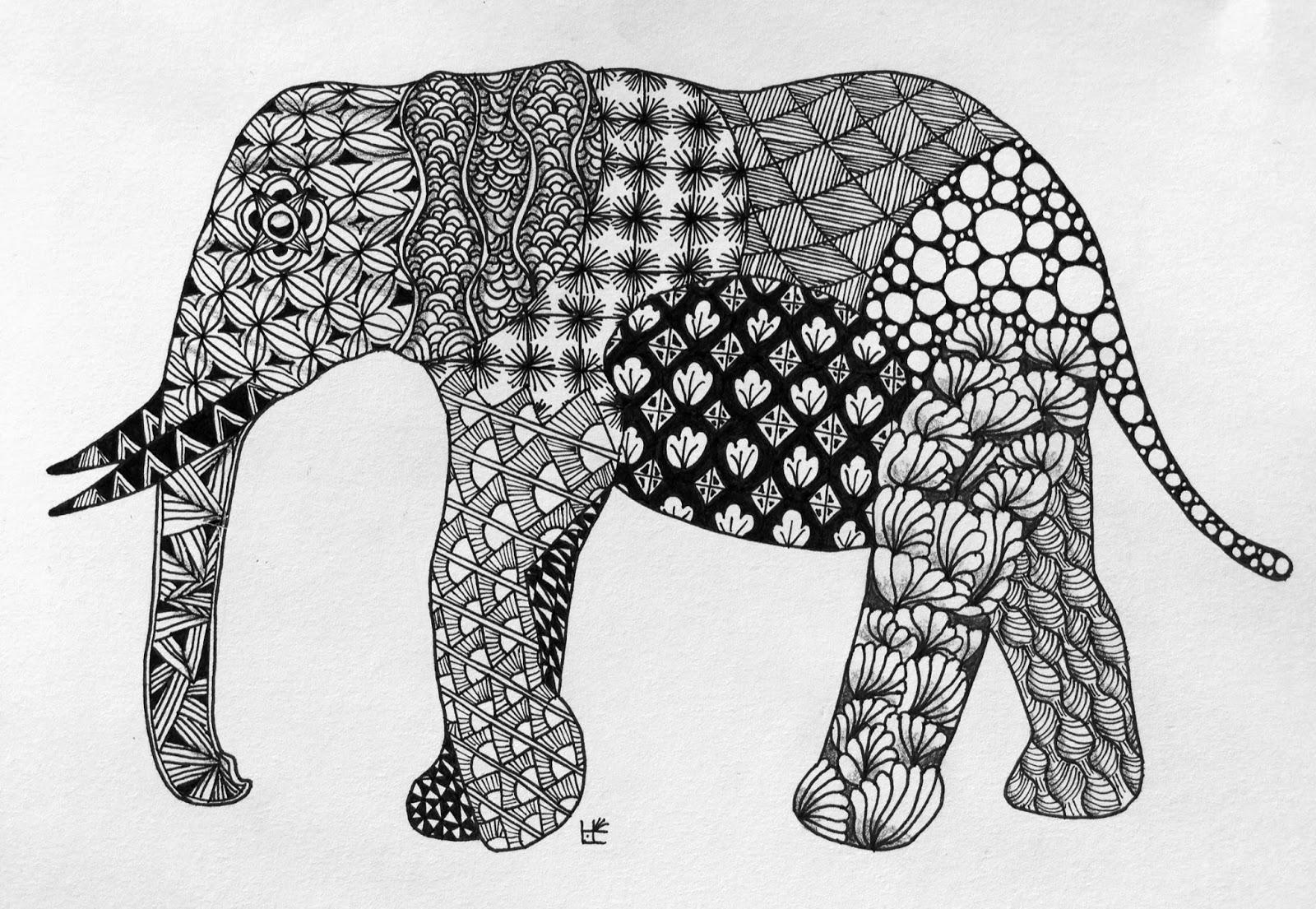 Zentangle Zoo: Elephant