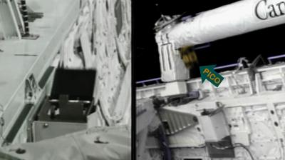 Atlantis – STS135 –PICO mini-satellite flies through the scene as it is released into orbit. The arrow points at the moving satellite. NASA-TV 2011.
