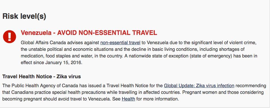 Canada travel alert