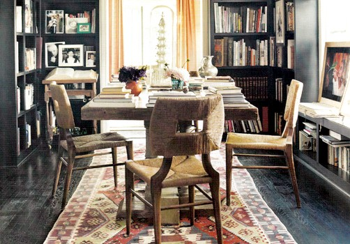 I Like How Peter Dunham Designed This Library Dining Room And Anchored It With An Antique Kilim Rug Its The Pop Of Color That Otherwise Dark