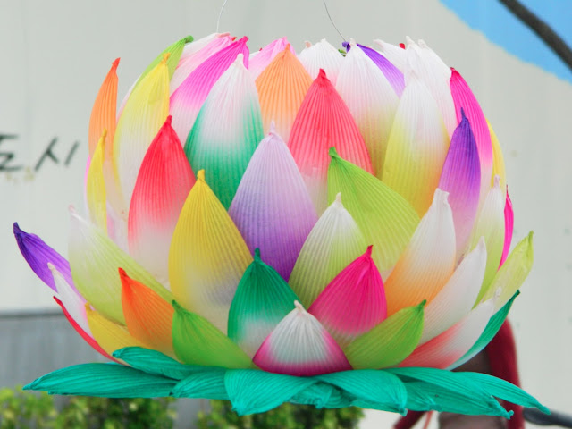 multicolored lotus lantern