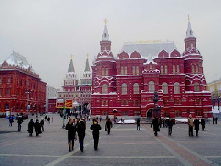 Red Square Moscow during snow fall