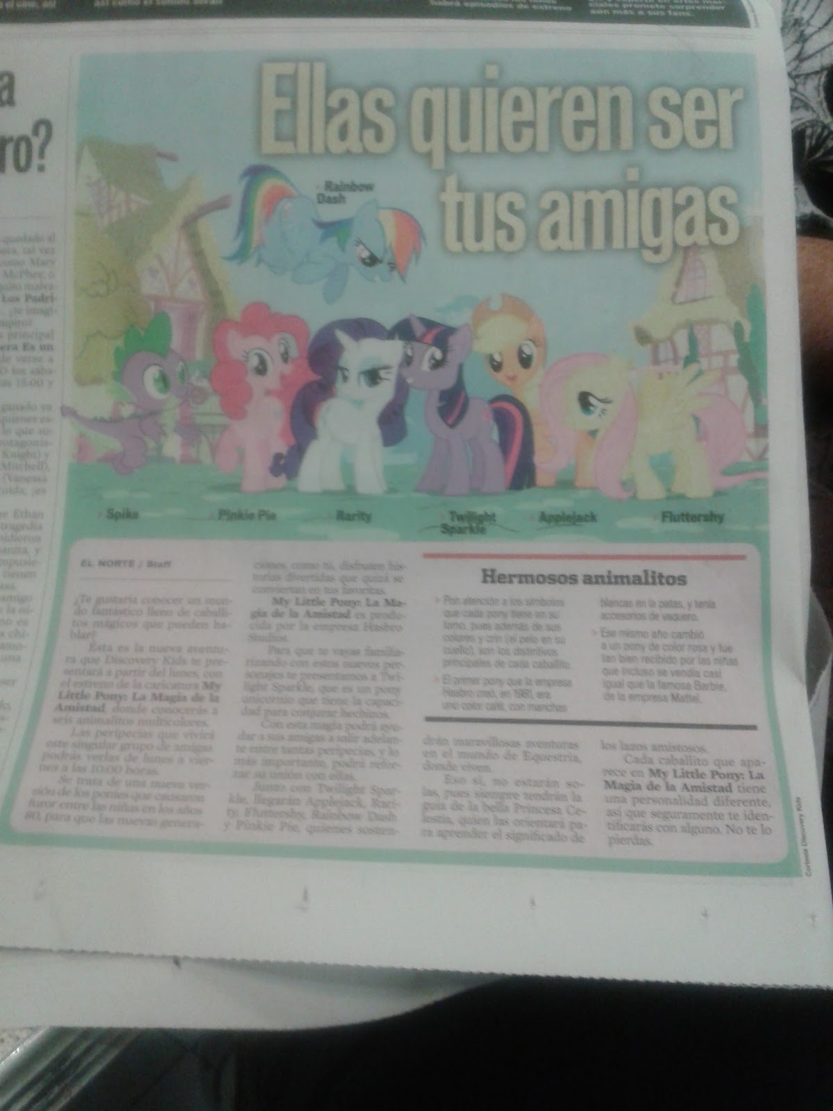 de 2011 incluyó en la sección de gente chiquita en el periódico
