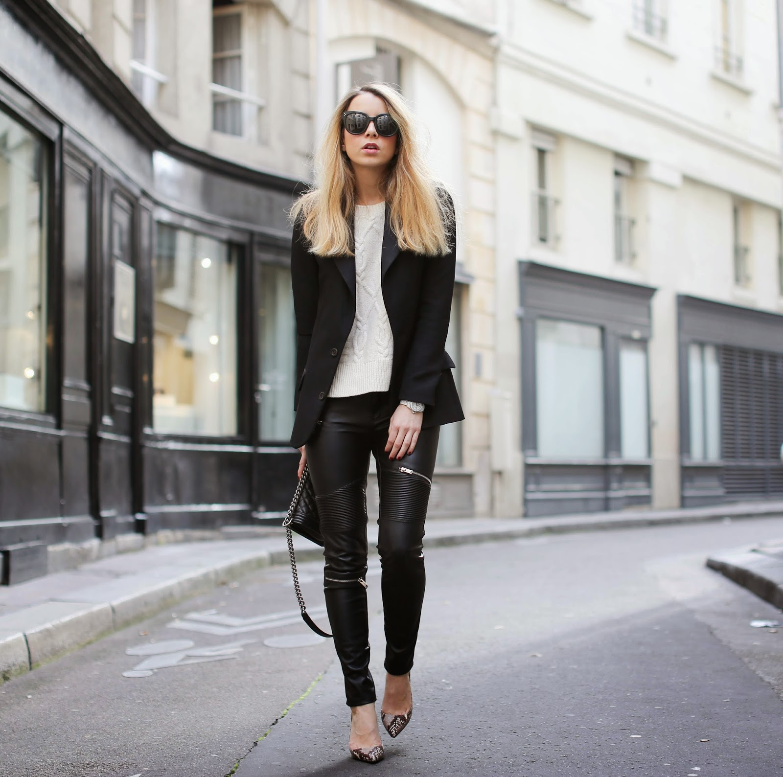 leather pants, cable knit sweater, sandro, zara, vanessa bruno, chanel, python pumps, saint germain, streetstyle, fashion blogger