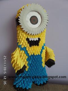 minionek , żółty, niebieski, origami 3d, bajka, film