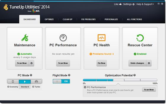 واجهة برنامج TuneUp Utilities 2014