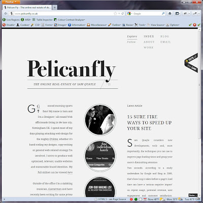 Screen capture of http://www.pelicanfly.co.uk/.