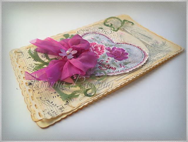 Открытка на день Валентина ручной работы. Shabby vintage postcard.