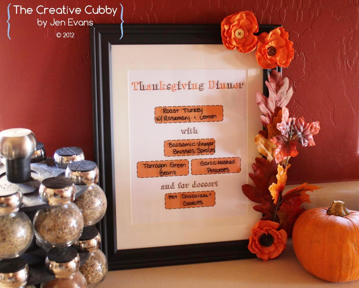 photograph relating to Printable Thanksgiving Menu called The Innovative Cubby: Thanksgiving Menu Creating Printables