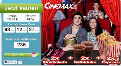 DailyDeal: Neuer CinemaxX-Kino-Gutschein für 19,90 (2 Personen inkl. 2 Softdrinks 0,5 Liter und 2 Popcorn)