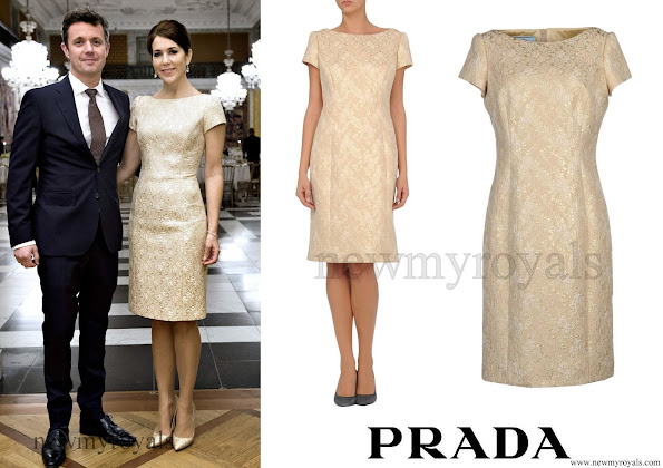 Crown Prince Frederik and Crown Princess Mary hosted a gala dinner at Christiansborg palace in Copenhagen Crown Princess Mary wore Prada Short Lace Dress in Beige