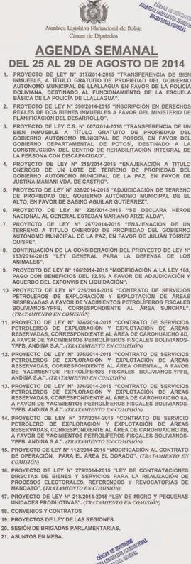 Agenda Semanal Cámara de Diputados