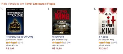 Conto Reconstituição de Um Crime no primeiro lugar dos mais vendidos da categoria terror da Amazon