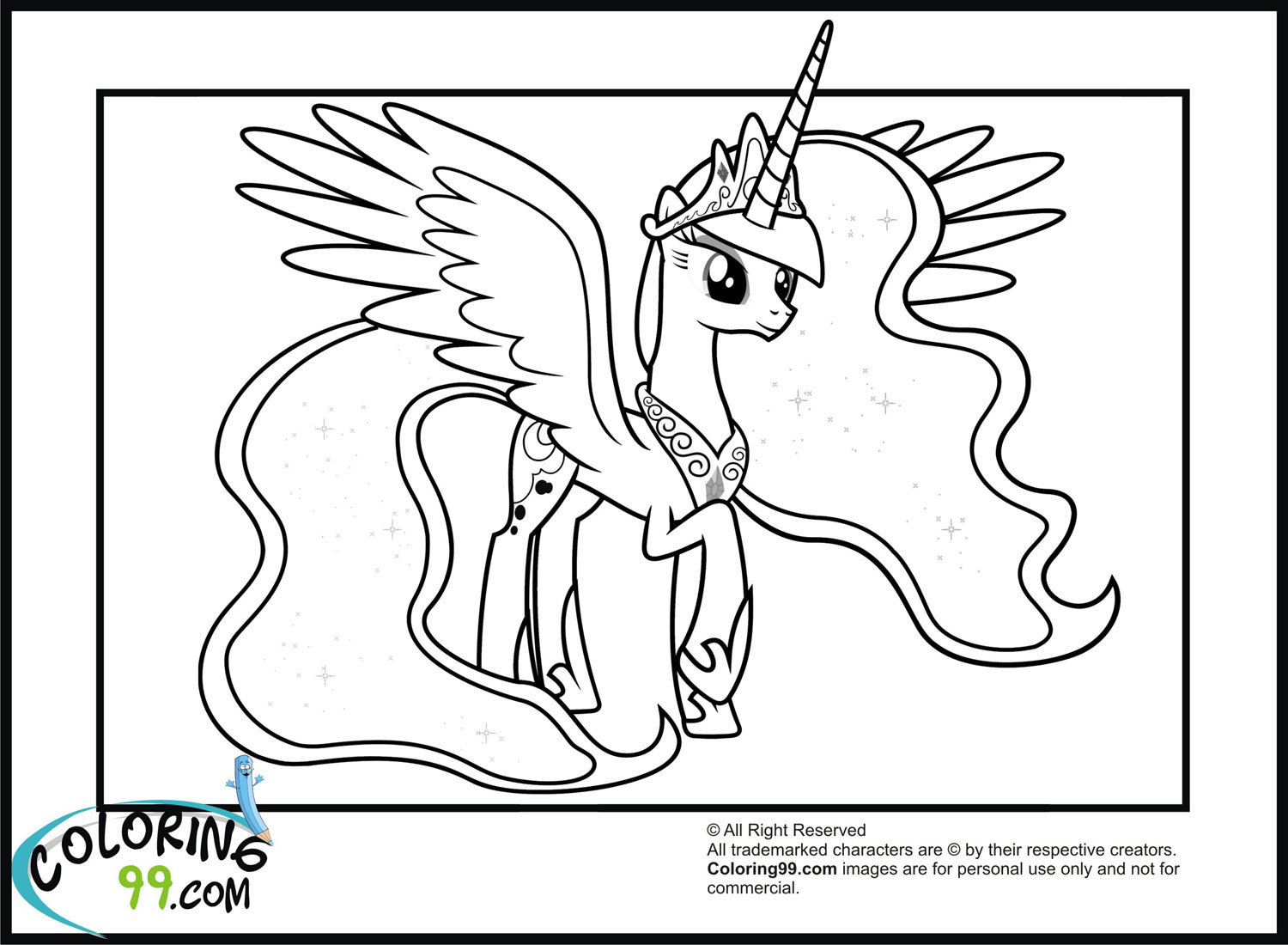 My Little Pony Coloring Pages Princess Luna : My little pony princess luna coloring pages team colors