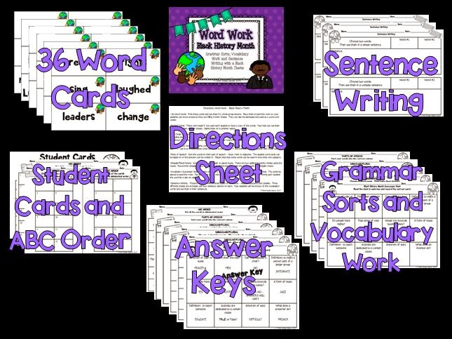 http://www.teacherspayteachers.com/Product/Word-Work-Black-History-Month-1113491