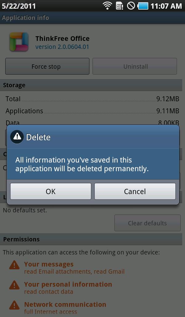 thinkfree office app delete