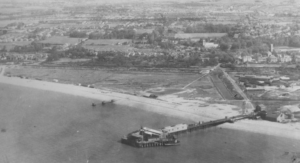 Stokes Bay Pier from the Air