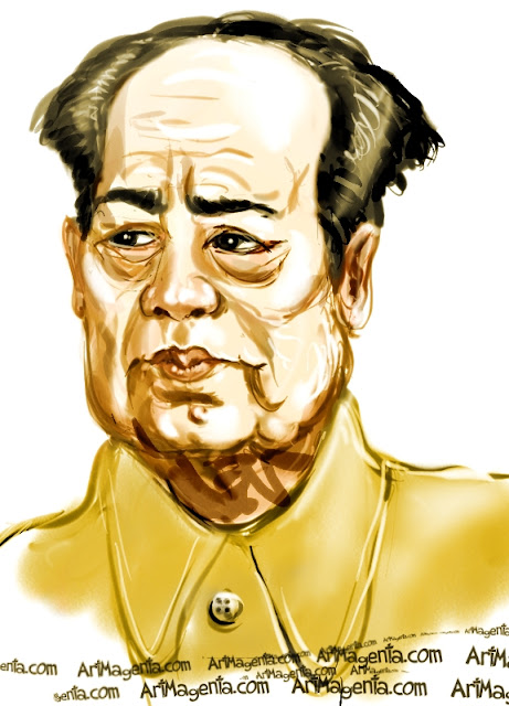 Mao Zedong caricature cartoon. Portrait drawing by caricaturist Artmagenta