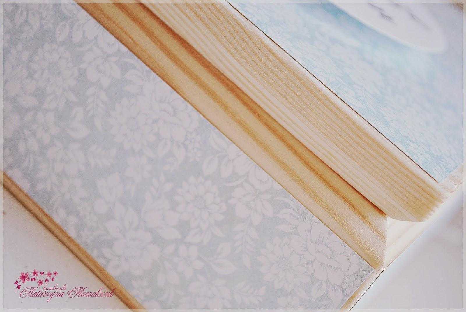 drewniane pudełko na pierwsze pamiątki, na album, scrapbooking