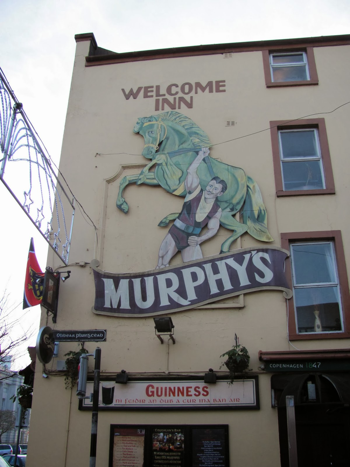 A Murphy's Stout Sign on a pub in Cork, Ireland