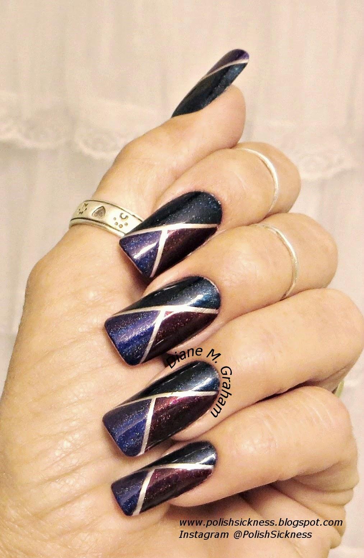 Дизайн ногтей скотч лентой на шеллаке 33