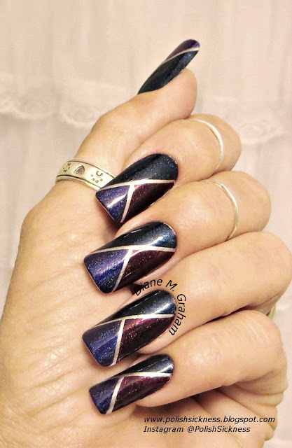 Sally Hansen Color Foil Sterling Silver, Darling Diva Queen of the Night, BEWBS!!, Nightbird, striping tape, holo