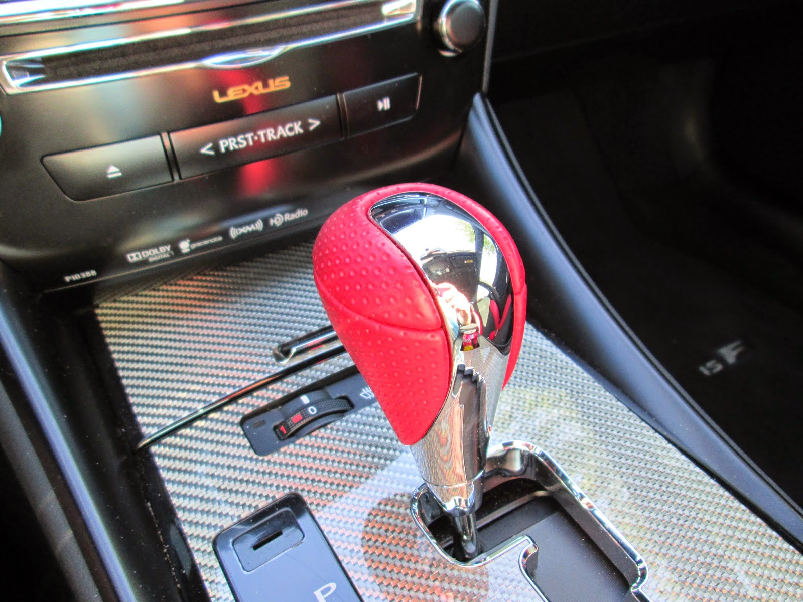 Red leather shift knob in 2014 Lexus IS-F