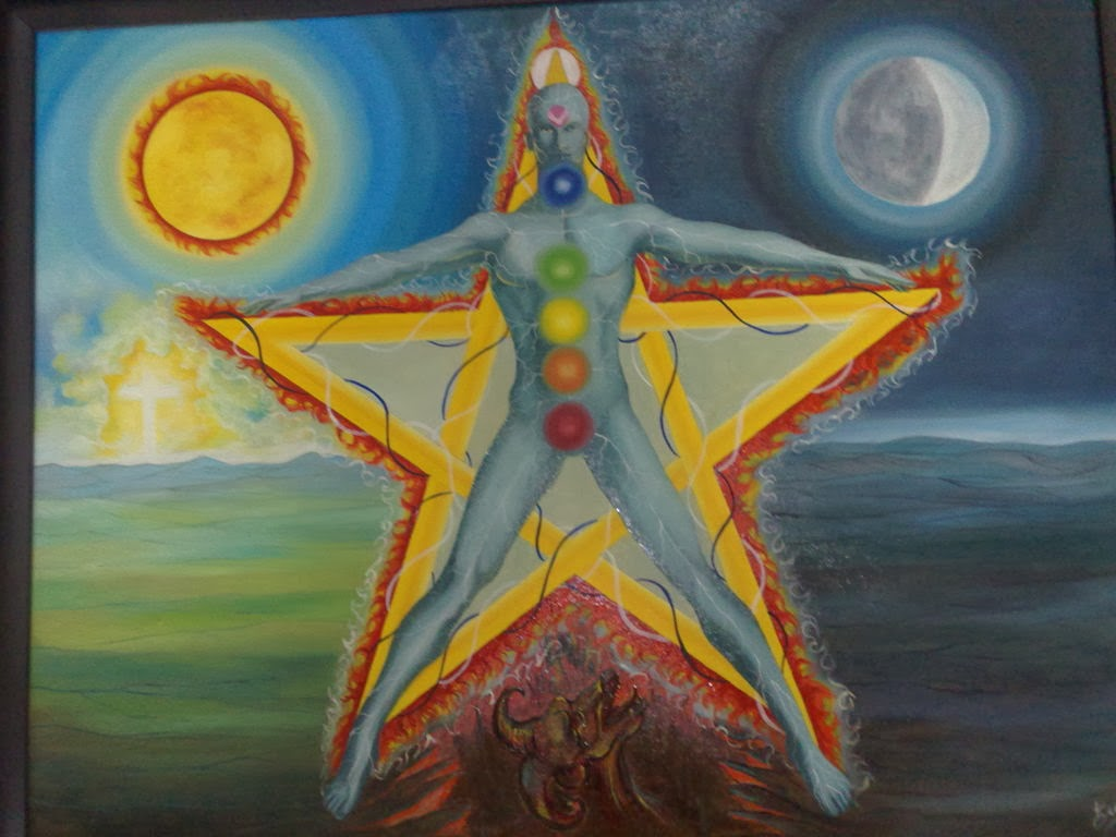 pentalfa- ser-humano-  pentagrama -chakras - energía