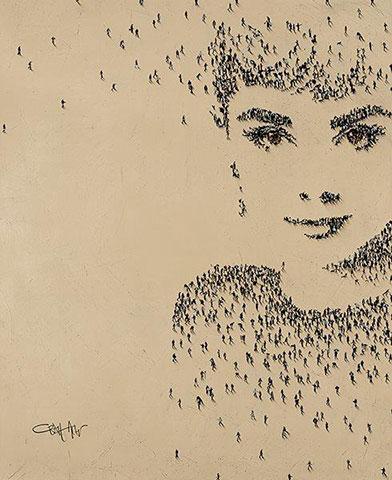 Rostos famosos pintados com silhuetas de pessoas por Craig Alan