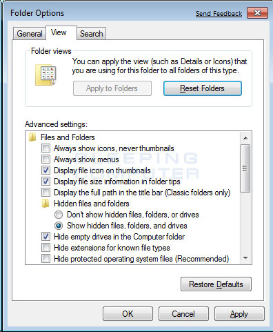hidden folder win7