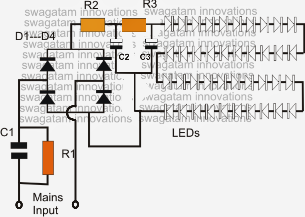 simple led bulb circuit ~ electronic circuit projects, Wiring diagram