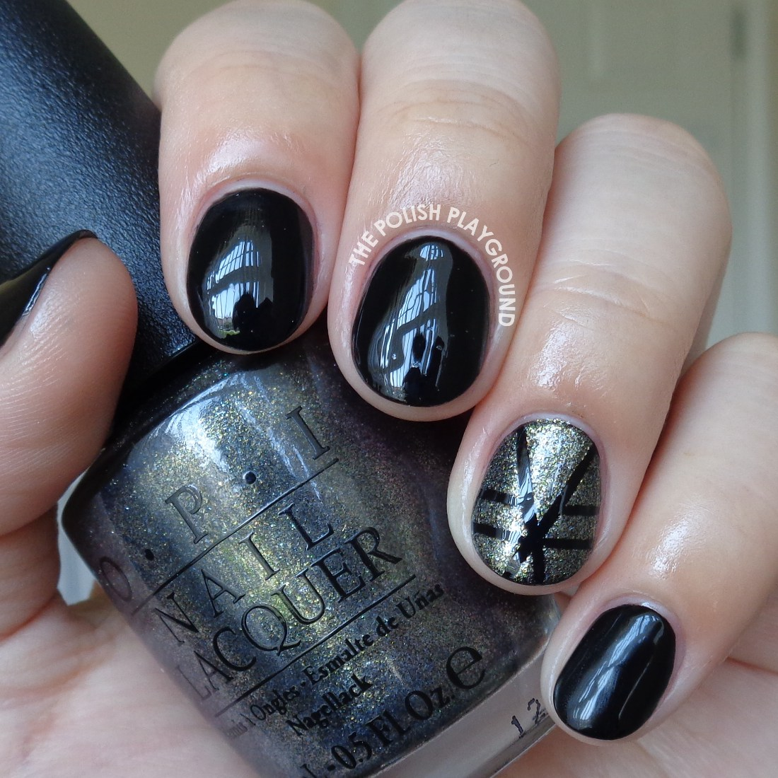 Black Nails with Striping Tape Accent Nail Art