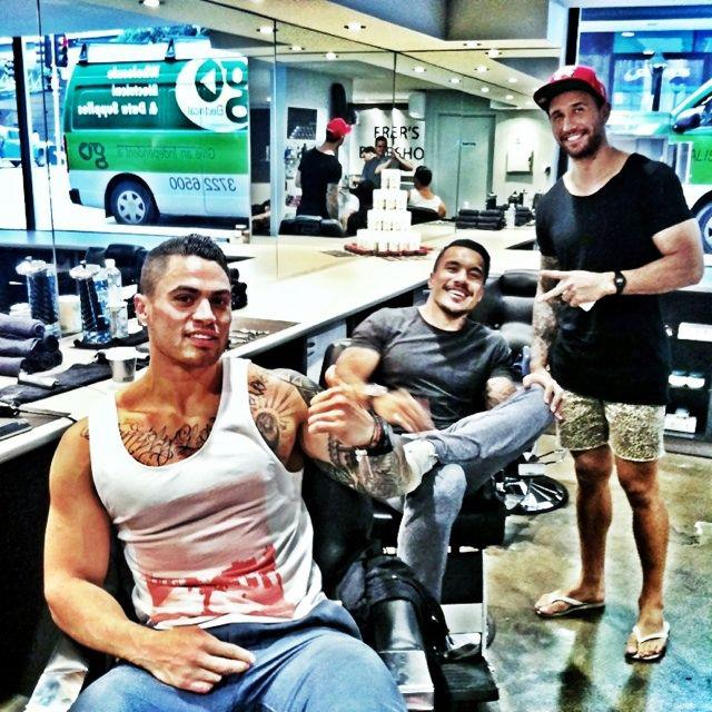 Ezra Taylor  Digby Ioane and Quade Cooper at Fraser s BarbershopQuade Cooper Tattoo 2013