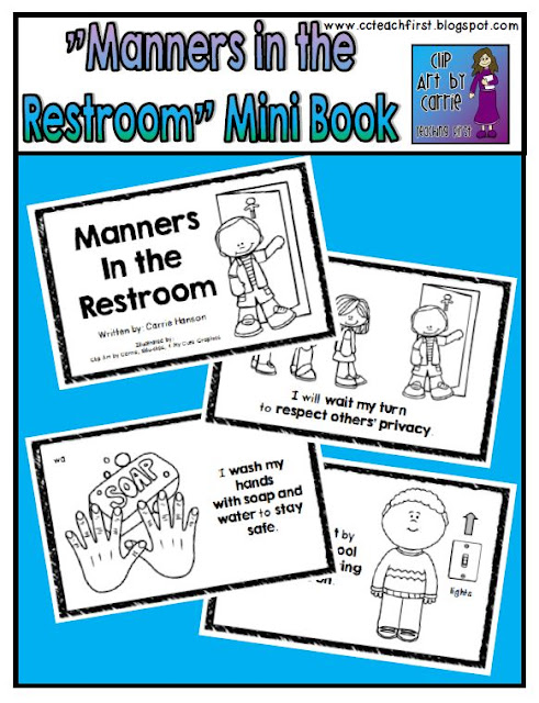 Clip Art By Carrie Teaching First Manners In The Restroom Mini Book