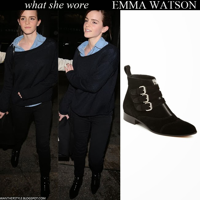Emma Watson in black suede buckled ankle boots by Tabitha Simmons Want Her Style