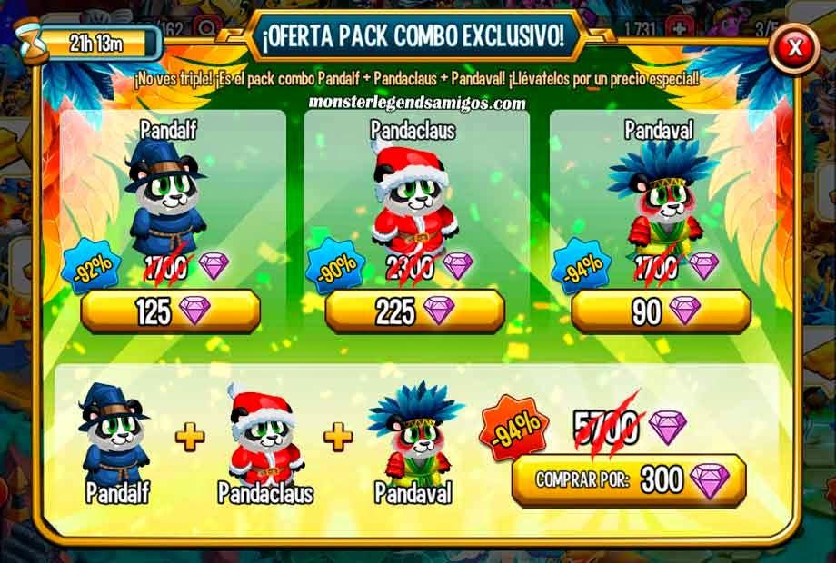 imagen de la oferta especial del combo pack de panda de carnaval de monster legends