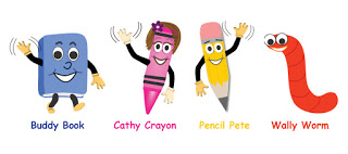 Buddy, Cathy, Pencil Pete, Wally