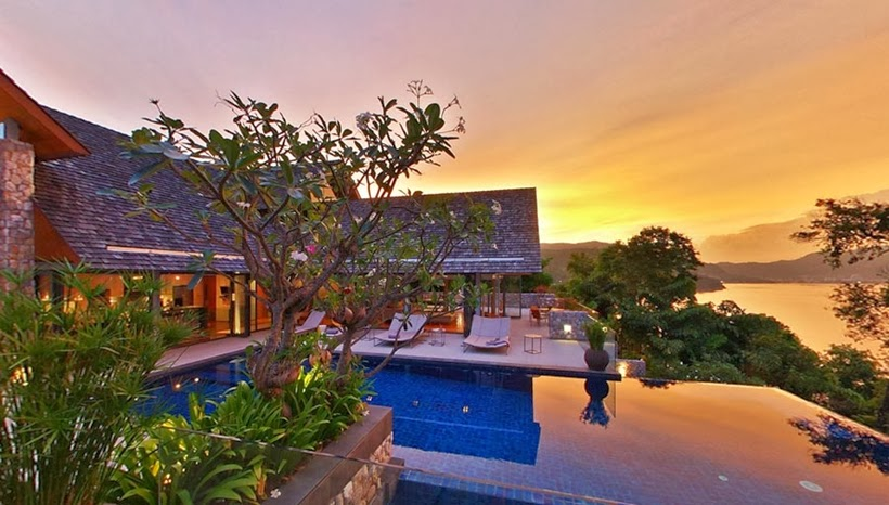 Sunset in Villa with contemporary Asian design