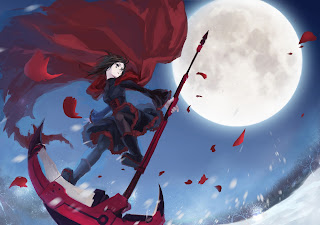 Red RWBY Anime Girl Death Scythe Full Moon Blac Red Dress Snow HD Wallpaper Desktop PC Background