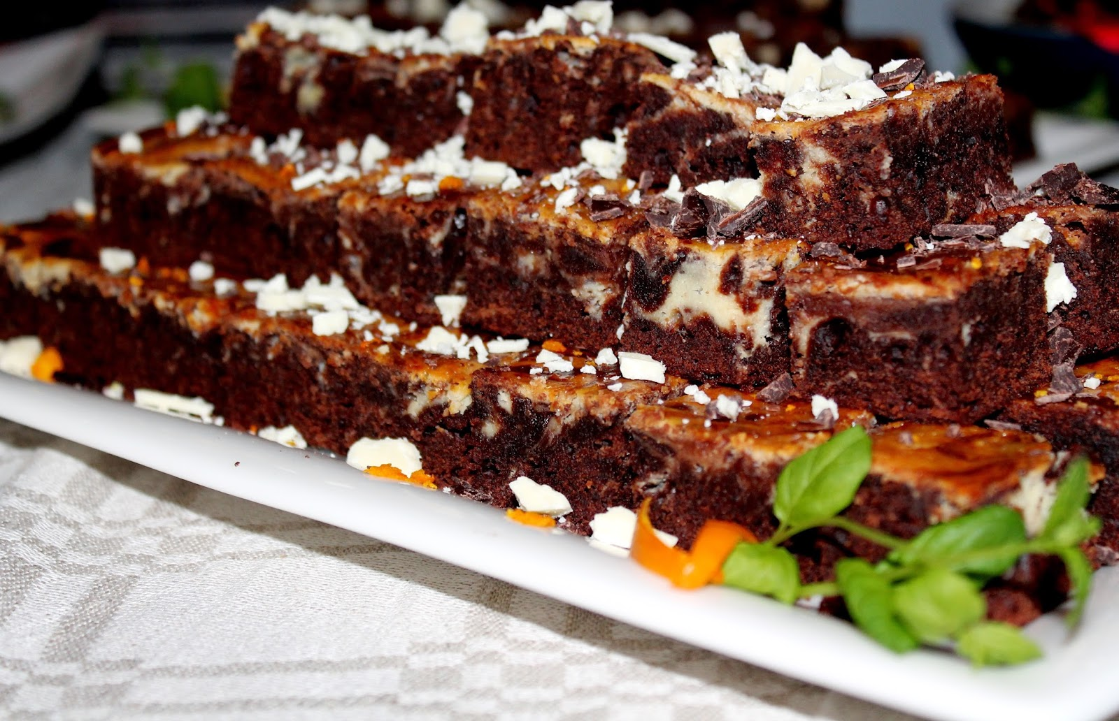 foor presentation in dessert table: chocolaty marbled brownies