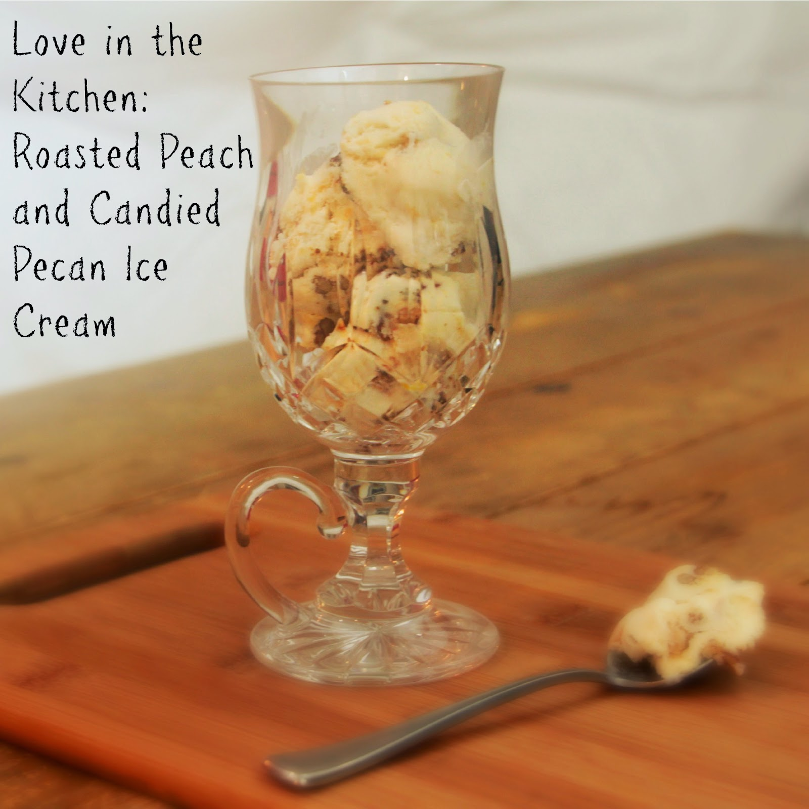 Roasted Peach and Candied Pecan Ice Cream