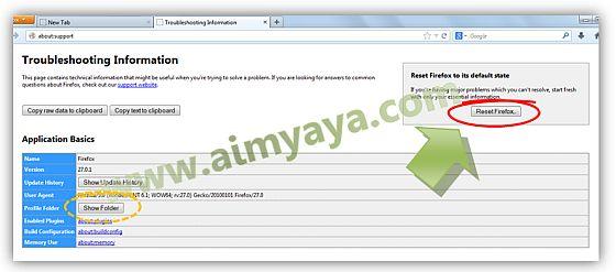 Gambar: Melakukan Reset Mozilla Firefox