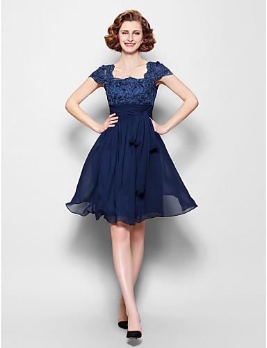 Vestido Madrina Azul Marino hasta la Rodilla