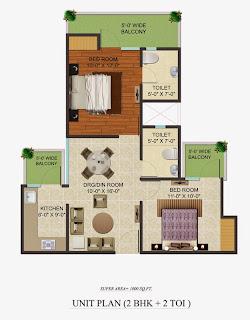 Golf Country, Yamuna Expressway :: Floor Plans,Golf Village:-Studio Unit Plan Plot Area: 1000 Sq. Ft.