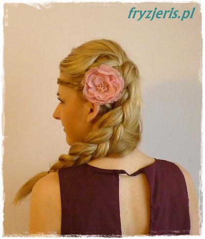 fryzura ślubna z holenderskim warkoczem