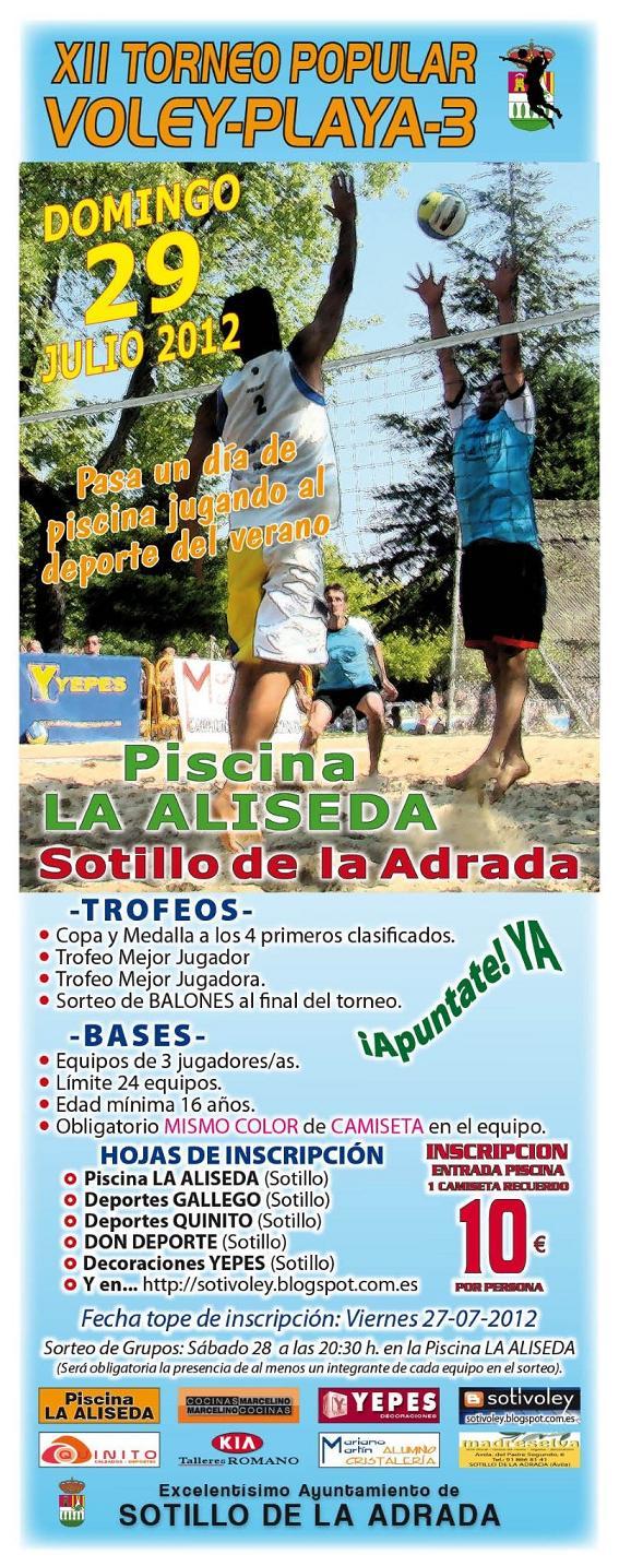Sotillo voleibol xii torneo de voley playa a 3 for Piscina la adrada