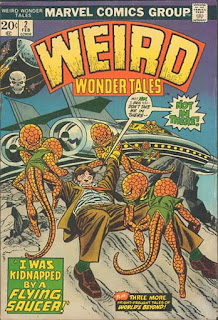 Weird Wonder Tales 2 cover: scaly little aliens drag man toward flying saucer